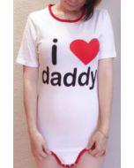 Baumwolle Onesie mit Kurze Ärmel, I Love Daddy Aufdruck