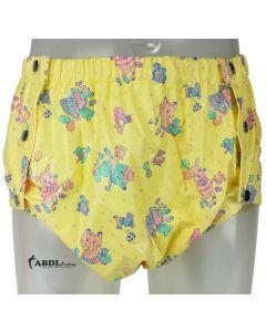 Formschöne Plastik Hose mit Druckknöpfen, Gelb Print