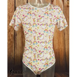 Onesie with Short Sleeves, Rainbow Unicorn Print