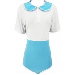 Cotton Preppy Style Onesie, White Blue