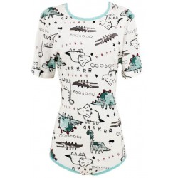 Cotton Onesie with Short Sleeves, Dino Print 2
