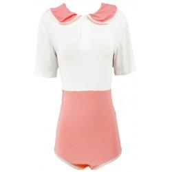 Cotton Preppy Style Onesie, White Pink