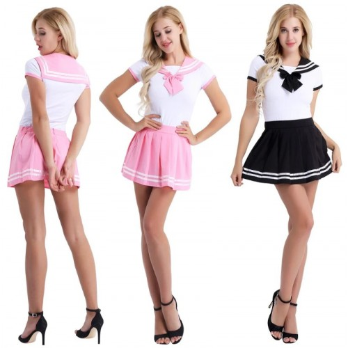 Pink of Black / White Schoolgirl Skirt Onesie