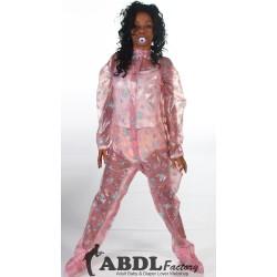 AB Baby Grow Pajama from PVC - Semi Trans Pink Nursery Print