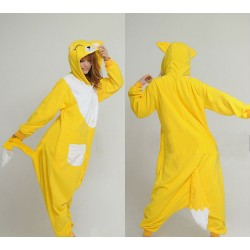 Kigurumi Cartoon Onesie Coral Fleece - Yellow Fox