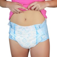 LittleForBig - Blue Nursery Brief Diapers, Plastic Backed