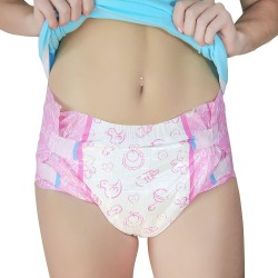 LittleForBig - Pink Nursery Brief Diapers, Plastic Backed