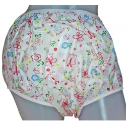 Pull Up Big Baby Plastic Pants with Flower - Butterfly Print