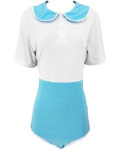 Katoenen Romper Preppy Style, Wit Blauw