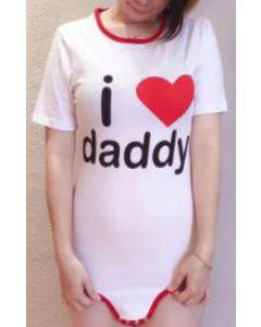 Katoenen Romper met Korte Mouwen, I Love Daddy Print