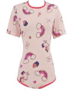 Katoenen Romper met Korte Mouwen, Roze Wolken Print