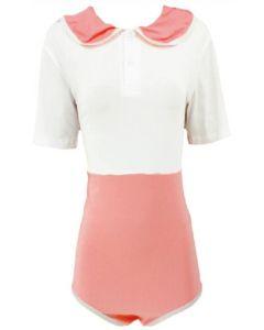 Katoenen Romper Preppy Style, Wit Roze